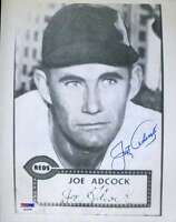 Joe Adcock Psa/dna Coa Hand Signed 8x10 Photo Authenticated Autograph