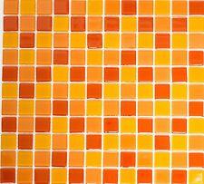 Mosaico piastrella vetro miscela arancione muro cucina bagno:62-0802_b |1 foglio