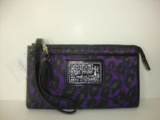 Coach Daisy Ocelot Print Zippy Wristlet Wallet ~Purple Multi F48597