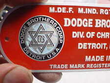 Dodge Brothers Firewall data plate COLOR logo acid etched aluminum 1930s - 1950s