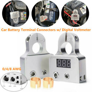 2x Digital Voltmeter Car Battery Terminal Connectors +- 0/4/8 AWG Power Post Kit