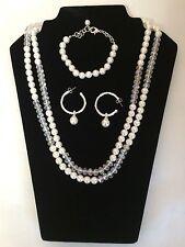 Avon Silver Tone Pearl Crystal  Rhinestone  Necklace Bracelet Earrings Set