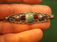 "#1 of 2, EXCELLENT VTG ""FANCIER"" STERLING SILVER & GREEN TURQUOISE BAR BROOCH"