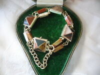 Antique Jewellery Solid Gold Scottish Agate Bracelet Chain Vintage Jewelry 19 cm