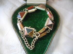 Antique Jewellery 9ct Gold Scottish Agate Bracelet Victorian Vintage Jewelry