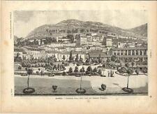 Stampa antica GUBBIO veduta panoramica Perugia Umbria 1891 Old antique print