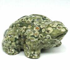 "Frog Figurine 2.5""Natural Rainforest Jasper Carved Animal Statue Home Decor 2813"