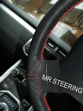 FOR SKODA FABIA MK1 6Y 99-07 TRUE LEATHER STEERING WHEEL COVER RED DOUBLE STITCH