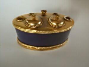 ✍️✍️Gold & Royal Blue E F Caldwell Inkstand in Wonderful Condition.
