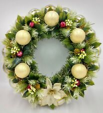 Soft Green & Gold Shimmer Christmas Ornament Wreath