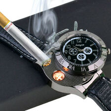 Windproof  Men's USB Cigarette Rechargeable Flameless Lighter Military Watch