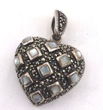 Sterling Silver Marcasite & Mother of Pearl Pendant 8.3grams