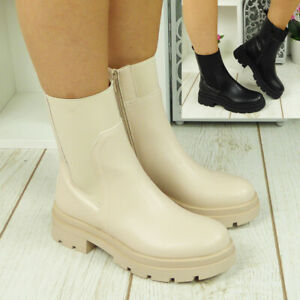 Ankle Chelsea Ladies Boots Shoes Punk Goth Wellies Guesset Chunky Heel Size