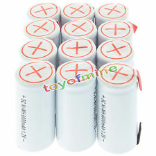 12x Sub C SubC With Tab 6000mAh 1.2V Ni-MH Rechargeable Battery White High Power