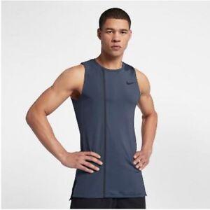 Nike Men's Pro Thunder Blue/Carbon Black Fitted Training Tank (AH7993-471) XL