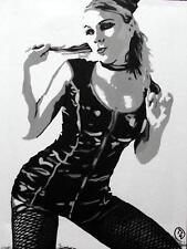 Arte Pop Pintura al óleo originales por Terry P Wylde: Florencia en Fishnet Medias