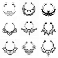 Fake Septum Clicker Nose Ring Non Piercing Hanger Clip On Jewellery US Silver
