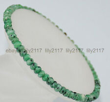 Rondelle Gemstone Elastic Bracelet 7.5'' Beautiful 2x4mm Faceted Green Zoisite