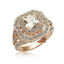 18k Rose Gold Plated Made with Swarovski Crystal Wedding Cocktail Ring SR129