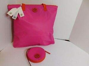 TORY BURCH - Brand new set of nylon pink color tote and a small pouch