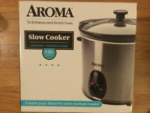 Aroma Housewares 3 Quart Slow Cooker - Stainless Steel - New in Box