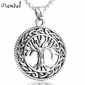 MENDEL Stainless Steel Celtic Tree of Life Pendant Necklace Irish Knot Silver