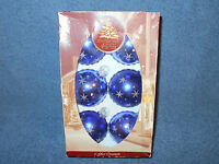 "6 PACK OF ENCHANTED FOREST 2 1/2"" PURPLE GLASS BALL CHRISTMAS ORNAMENTS W/ STARS"