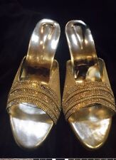 Size 6 Ladies Indian Bollywood Casual Shoes Heels Sandals Slip Ons Silver