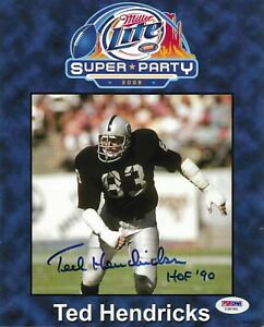 Ted Hendricks Oakland Raiders Signed 8X10 Photo Autographed PSA/DNA COA Y38786