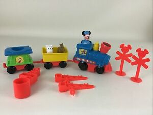 Disney Train Set Mickey Mouse Conductor 11pc Lot Animals Chip Dale Sign TESTED