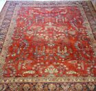 GENUINE ANTIQUE FLORAL SAROUKK HAND KNOTTED WOOL FINE ORIENTAL RUG CLEANED 9 x12