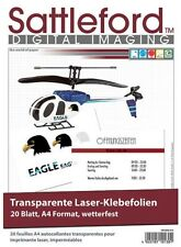 20 Klebefolien DIN A4 Laserdrucker transparent Aufkleber Etiketten wetterfest