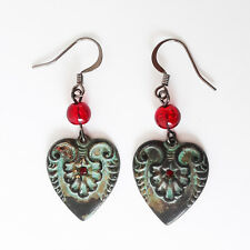 St Patricks Day Rustic Green Love Heart Red Rhinestone Gunmetal Plated Earrings