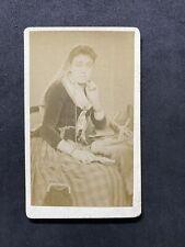 More details for victorian carte de visite cdv: rare lady gypsy? selling pegs: milton newcastle