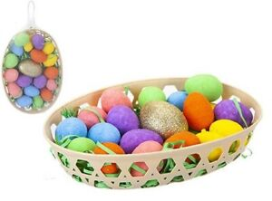 Golden Egg Easter Egg Hunt Fun Game Basket Set With Artificial Coloured Eggs