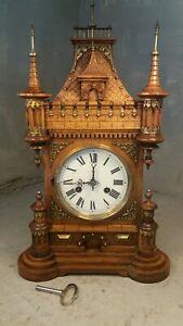 Large Antique Oak Striking Castle Mantel Clock ,Junghans