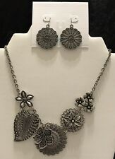 Premier Designs Jewelry BOTANICAL Necklace & Earrings Set Silver Flower Vintage