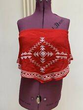 Ladies Surf Gypsy Red Strapless Bandeau Top Small Holiday Ibiza Summer Designer
