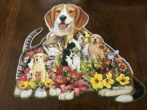 300 Pieces  Cuddling Puppy and Kitten Shaped Large Piece Puzzle  Bits and Pieces