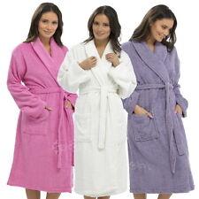 Ladies 100% Cotton Towel Bathrobe Terry Towelling Sizes S M L Dressing Gown