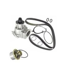 BMW E46 M-3 Water Pump +Belt +80c Thermostat +Gasket Engine Coolant Vanes
