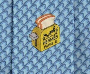 "Cool New Tags Hermes Tie Heavy Silk Twill Blue ""Breakfast At Hermes"" Rare Mint!"