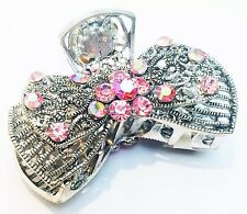 """""""USA"""" Hair Clip Pin Claw Austria Crystal Hair jewelry Vintage Pink Silver Metal"""