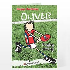 Personalised Name & Message Boys Rugby Crazy Fan Happy Birthday Card - GC00346