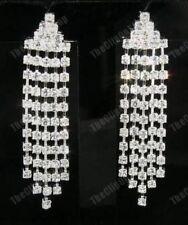 U CLIP ON rhinestone DIAMANTE chandelier CRYSTAL drop EARRINGS silver plated