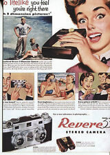 POST CARD WITH MAGAZINE ADVERTISEMENT FOR REVERE STEREO CAMERS FOR 3 D PICTURES