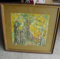 Vintage H Ronn Signed Watercolor Painting of Dirt Road and Trees Framed