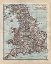 Landkarte map 1895 ENGLAND UND WALES. Durham York Stafford Suffolk Devon Denbigh