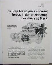 1971 Mack Trucks Maxidyne V-8 Diesel Sales Brochure Original