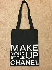 New CHANEL Black Cosmetic Classic Bag Handbag Shopper Tote With Text Print